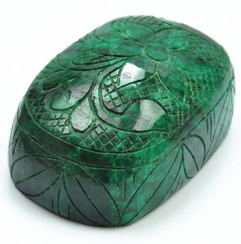 100% NATURAL GREEN EMERALD CARVED 2975.00 CARATS OVAL SHAPE LOOSE GEMSTONE WITH FREE CERTIFICATE