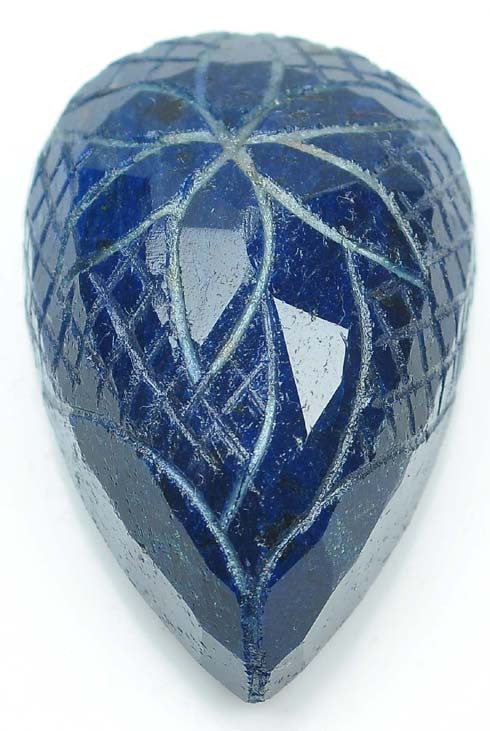 339.50 CARATS PEAR SHAPE 100% NATURAL INDIAN BLUE SAPPHIRE CARVED LOOSE GEMSTONE WITH FREE CERTIFICATE
