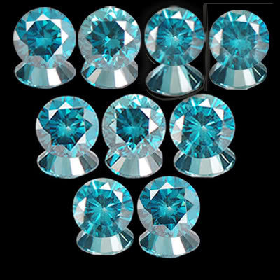ROUND SHAPE (9PCS) SET 100% NATURAL BLUE LOOSE DIAMOND 0.45CT WITH FREE CERTIFICATE