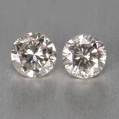SUPERB QUALITY 0.10CT ROUND SHAPE PAIR LOOSE NATURAL WHITE DIAMOND WITH FREE CERTIFICATE