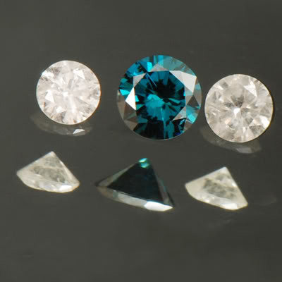 ROUND SHAPE 3PCS. SET 0.21CT NATURAL LOOSE BLUE & WHITE DIAMOND WITH FREE CERTIFICATE