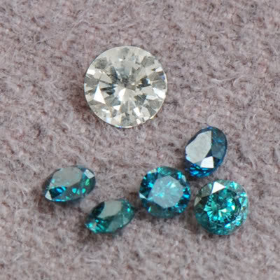 DAZLLING  0.90CT ROUND SHAPE 6 PCS. SET LOOSE NATURAL BLUE & WHITE DIAMOND WITH FREE CERTIFICATE