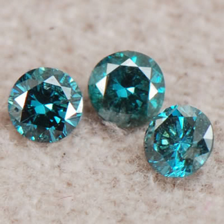 CERTIFIED (3PCS) SET ROUND SHAPE 0.45 CARAT NATURAL BLUE LOOSE DIAMOND