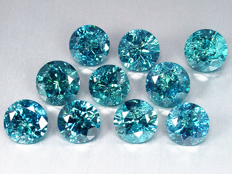 0.60CT ROUND SHAPE 100% NATURAL LOOSE BLUE DIAMOND 10PCS. SET WITH FREE CERTIFICATE