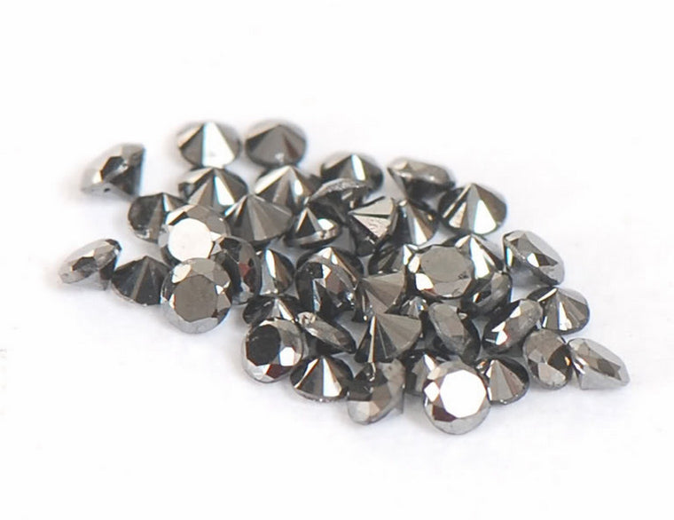 1.90 CARATS ROUND SHAPE 100% NATURAL LOOSE BLACK DIAMOND WHOLESALE LOT WITH FREE CERTIFICATE