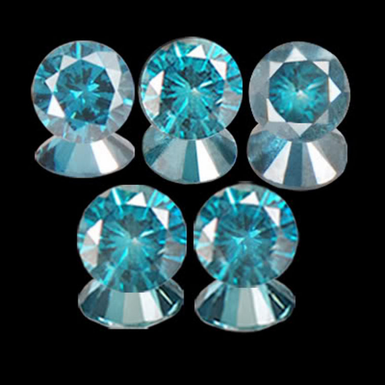 0.25CT ROUND BRILLIANT CUT 100% NATURAL BLUE DIAMOND 5PCS.SET WITH FREE CERTIFICATE