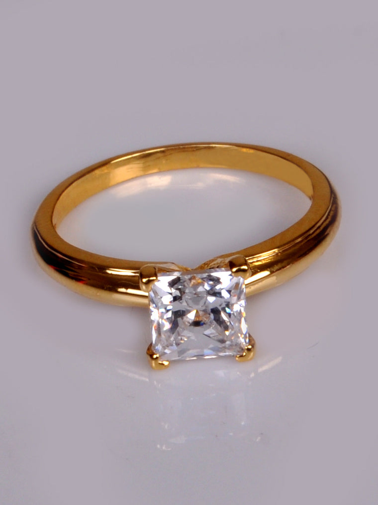 14KT SOLID GOLD 1.55 CARATS FABULOUS PRINCESS SHAPE SOLITAIRE PROPOSAL RING