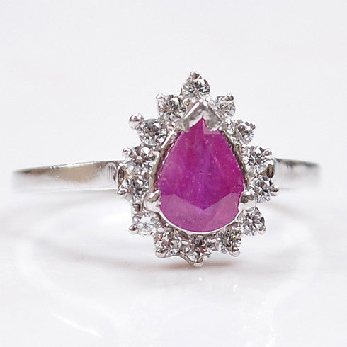 14KT SOLID GOLD 1.60 CARATS PEAR SHAPE REAL NATURAL PINK TOURMALINE & EGL CERTIFIED DIAMOND RING