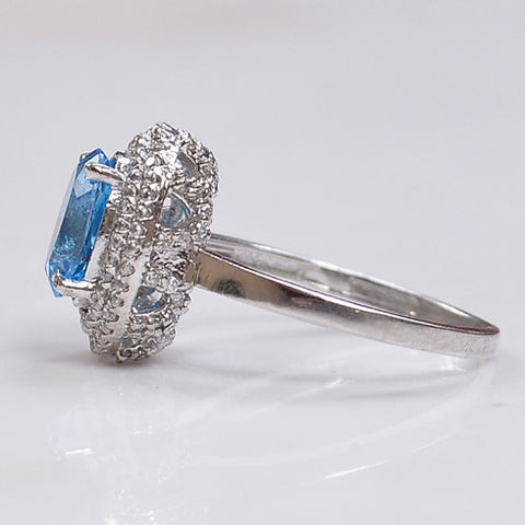 REAL 14KT SOLID GOLD 2.60 CARATS OVAL SHAPE NATURAL BLUE TOPAZ & EGL CERTIFIED DIAMOND RING