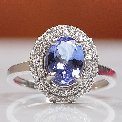 2.60 CARATS OVAL SHAPE 14KT SOLID GOLD REAL NATURAL BLUE TANZANITE & EGL CERTIFIED DIAMOND RING