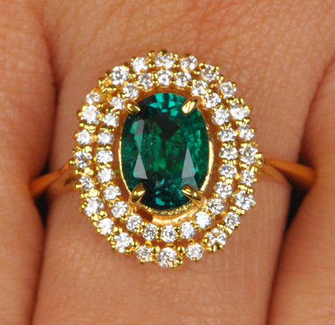 14KT SOLID GOLD 1.65 CARATS EGL CERTIFIED DIAMOND & OVAL SHAPE NATURAL GREEN EMERALD RING