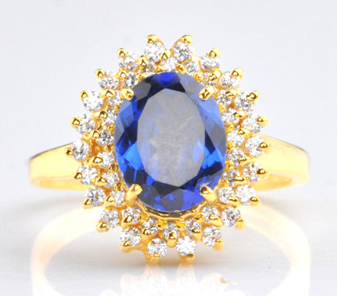 2.45 CARATS OVAL SHAPE 14KT SOLID GOLD REAL NATURAL BLUE TANZANITE & EGL CERTIFIED DIAMOND RING