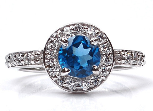 18KT SOLID GOLD 2.20 CARATS ROUND SHAPE REAL NATURAL BLUE TOPAZ & IGI CERTIFIED DIAMOND RING