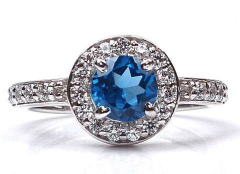 14KT SOLID GOLD 2.15 CARATS ROUND SHAPE REAL NATURAL BLUE TOPAZ & EGL CERTIFIED DIAMOND RING