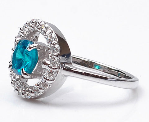 14KT SOLID GOLD 2.10 CARATS ROUND SHAPE REAL NATURAL BLUE TOPAZ & EGL CERTIFIED DIAMOND RING