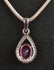 14KT SOLID GOLD 2.45 CARATS EGL CERTIFIED DIAMOND & OVAL SHAPE NATURAL PINK TOURMALINE PENDANT - WITHOUT CHAIN