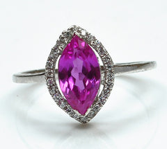 14KT SOLID GOLD 1.68 CARATS MARQUISE CUT REAL NATURAL PINK TOURMALINE & EGL CERTIFIED DIAMOND RING