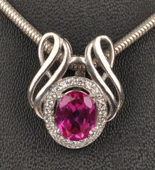 14KT SOLID GOLD 2.50 CARATS EGL CERTIFIED DIAMOND & OVAL SHAPE NATURAL PINK TOURMALINE PENDANT - WITHOUT CHAIN
