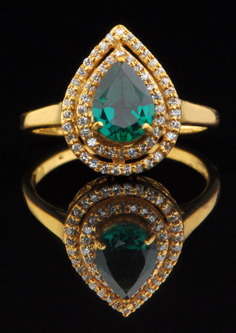 14KT SOLID GOLD 1.40 CARATS PEAR SHAPE REAL NATURAL GREEN EMERALD & EGL CERTIFIED DIAMOND RING