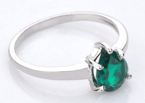 1.30 CARATS PEAR SHAPE 14KT SOLID GOLD REAL NATURAL GREEN EMERALD RING WITH FREE CERTIFICATE