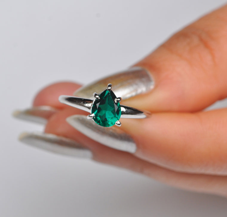 18KT SOLID GOLD 1.50 CARATS PEAR SHAPE REAL NATURAL GREEN EMERALD RING WITH FREE CERTIFICATE