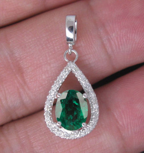 14KT SOLID GOLD 1.65 CARATS OVAL SHAPE NATURAL GREEN EMERALD & EGL CERTIFIED DIAMOND PENDANT
