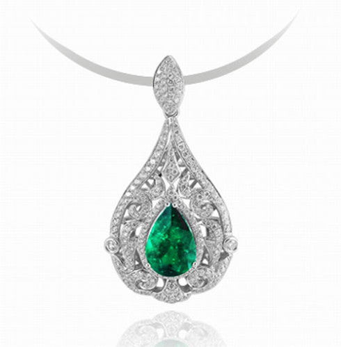 14KT SOLID GOLD 1.95 CARATS EGL CERTIFIED DIAMOND & PEAR SHAPE NATURAL GREEN EMERALD PENDANT