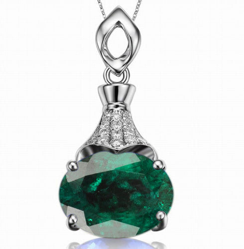 1.35 CARATS OVAL SHAPE 14KT SOLID GOLD NATURAL GREEN EMERALD & EGL CERTIFIED DIAMOND PENDANT