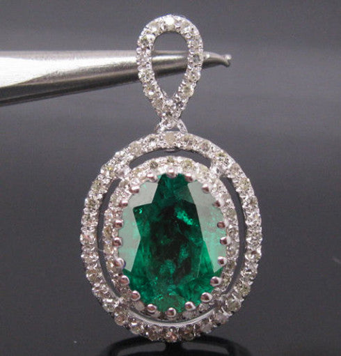 1.70 CARATS OVAL SHAPE 14KT SOLID GOLD NATURAL GREEN EMERALD & EGL CERTIFIED DIAMOND PENDANT