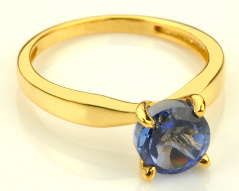 14KT SOLID GOLD 1.30 CARATS ROUND SHAPE NATURAL BLUE TANZANITE RING WITH FREE CERTIFICATE