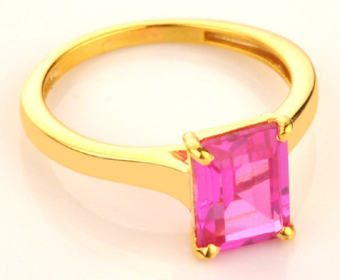 14KT SOLID GOLD RECTANGLE SHAPE 1.50 CARATS REAL NATURAL PINK TOURMALINE RING WITH FREE CERTIFICATE