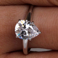 14KT SOLID GOLD PEAR SHAPE 1.65 CARATS SOLITAIRE ENGAGEMENT RING