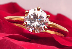 14KT SOLID GOLD 1.85 CARATS SOLITAIRE GOOD QUALITY ROUND SHAPE WEDDING RING