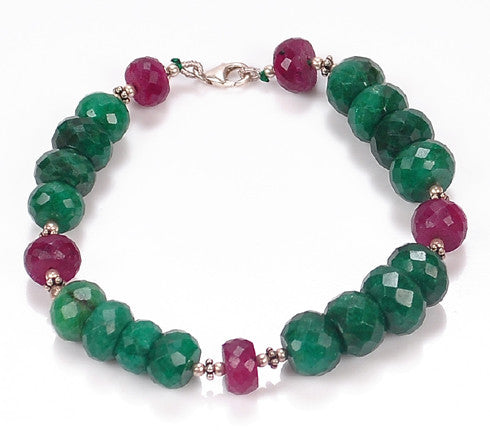 NATURAL RED RUBY & GREEN EMERALD FACETED ROUND SHAPE GEMSTONES BRACELETE