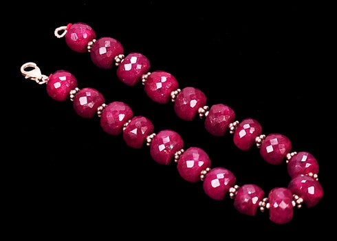 146.90 CARATS NATURAL RED RUBY FACETED ROUND SHAPE GEMSTONES BRACELETE