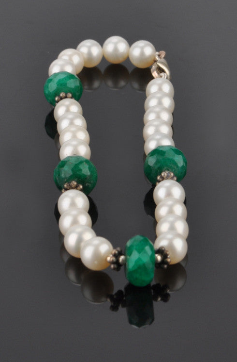 NATURAL FRESHWATER PEARL & FACETED GREEN EMERALD GEMSTONES 925 STERLING SILVER BEADED BRACELET