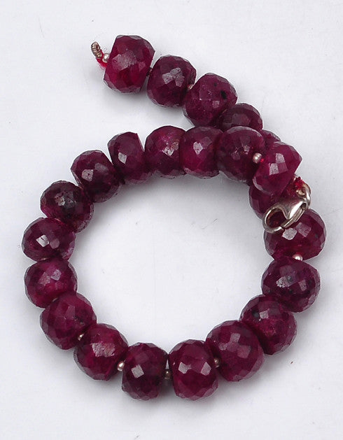 NATURAL AFRICAN RED RUBY FACETED ROUND SHAPE GEMSTONES BRACELET