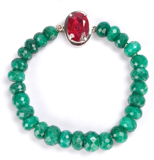 237.40 CARATS NATURAL RED RUBY & GREEN EMERALD FACETED GEMSTONES BRACELET