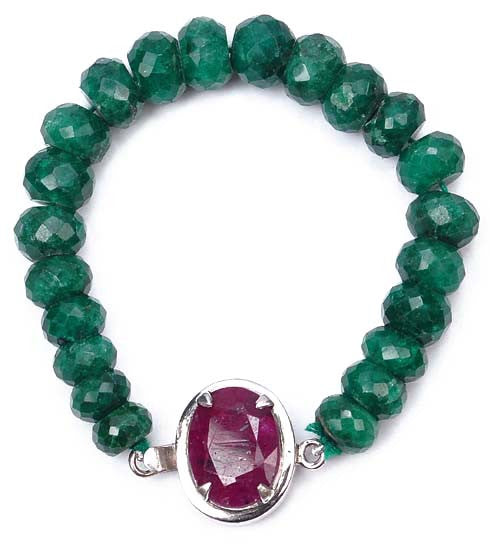 146.50 CARATS NATURAL RED RUBY & GREEN EMERALD GEMSTONES BRACELET
