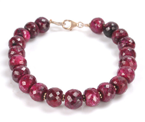 196.00 CARATS NATURAL RED RUBY FACETED ROUND SHAPE GEMSTONE BRACELETE