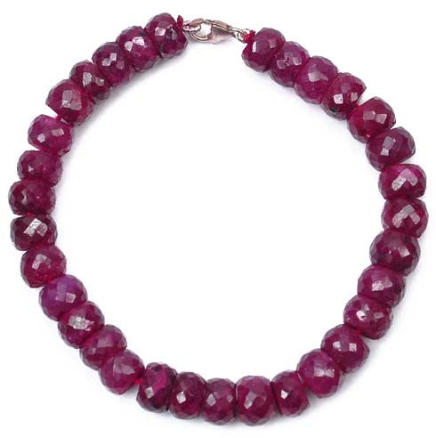 151.70 CARATS NATURAL AFRICAN FACETED RED RUBY BEADS BRACELET