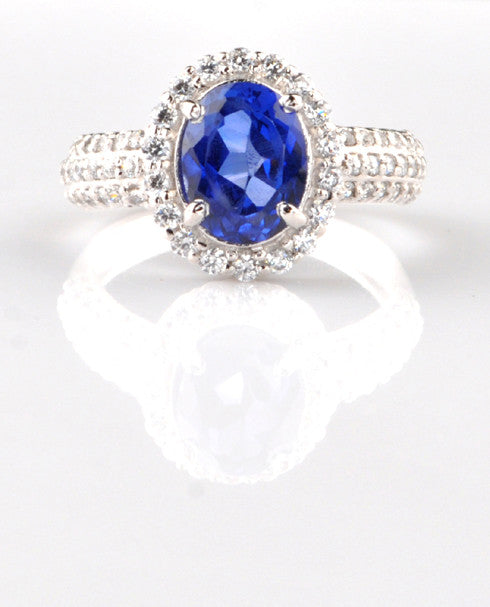 14KT SOLID GOLD 2.95 CARATS OVAL SHAPE REAL NATURAL BLUE TANZANITE & EGL CERTIFIED DIAMOND RING