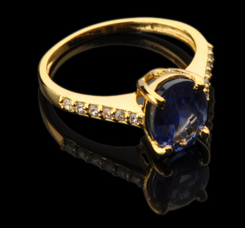 REAL 18KT SOLID GOLD OVAL SHAPE 2.70 CARATS EGL CERTIFIED DIAMOND & NATURAL BLUE TANZANITE RING