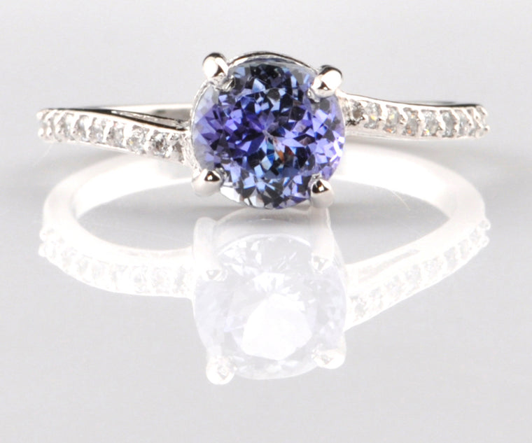 1.70 CARATS 14KT SOLID GOLD EGL CERTIFIED DIAMOND & ROUND SHAPE NATURAL BLUE TANZANITE RING