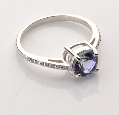 REAL 18KT SOLID GOLD 1.80 CARATS ROUND SHAPE NATURAL BLUE TANZANITE & EGL CERTIFIED DIAMOND RING
