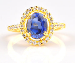 14KT SOLID GOLD 2.40 CARATS EGL CERTIFIED DIAMOND & OVAL SHAPE NATURAL BLUE TANZANITE RING
