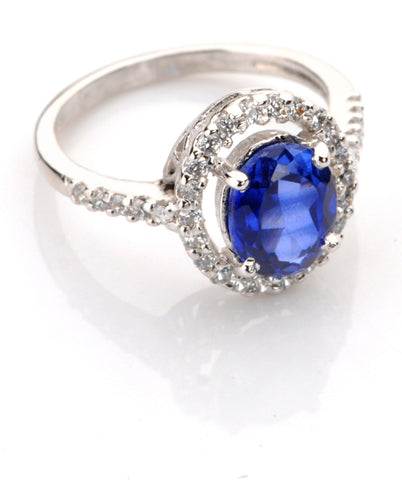 18KT SOLID GOLD OVAL SHAPE  2.70 CARATS REAL NATURAL BLUE TANZANITE & IGI CERTIFIED DIAMOND RING