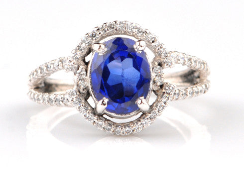 14KT SOLID GOLD 2.95 CARATS EGL CERTIFIED DIAMOND & OVAL SHAPE NATURAL BLUE TANZANITE RING