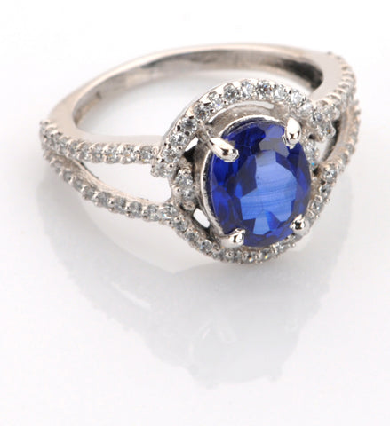 2.90 CARATS OVAL SHAPE 18KT SOLID GOLD REAL NATURAL BLUE TANZANITE & EGL CERTIFIED DIAMOND RING