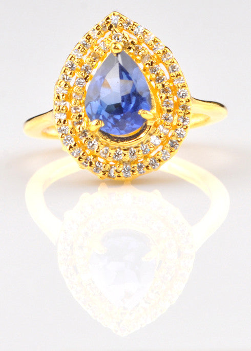 REAL 14KT SOLD GOLD 1.45 CARATS PEAR SHAPE NATURAL BLUE TANZANITE & EGL CERTIFIED DIAMOND RING
